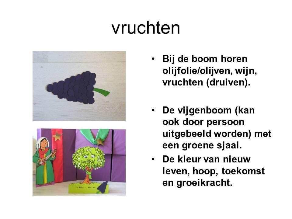 vruchten Bij de boom horen olijfolie/olijven, wijn, vruchten (druiven). De vijgenboom (kan ook door persoon uitgebeeld worden) met een groene sjaal. D