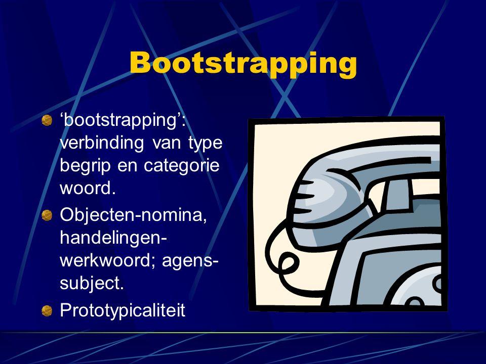 Bootstrapping 'bootstrapping': verbinding van type begrip en categorie woord. Objecten-nomina, handelingen- werkwoord; agens- subject. Prototypicalite