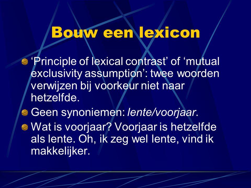 Bouw een lexicon 'Principle of lexical contrast' of 'mutual exclusivity assumption': twee woorden verwijzen bij voorkeur niet naar hetzelfde. Geen syn