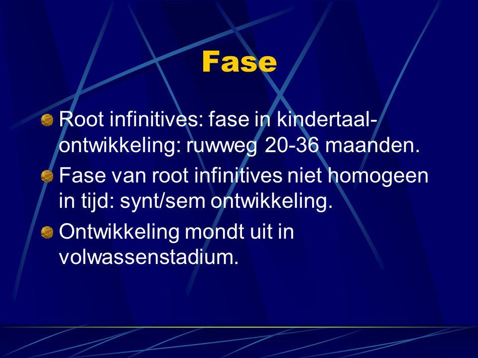 Fase Root infinitives: fase in kindertaal- ontwikkeling: ruwweg 20-36 maanden. Fase van root infinitives niet homogeen in tijd: synt/sem ontwikkeling.