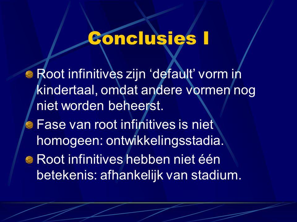 Conclusies I Root infinitives zijn 'default' vorm in kindertaal, omdat andere vormen nog niet worden beheerst. Fase van root infinitives is niet homog