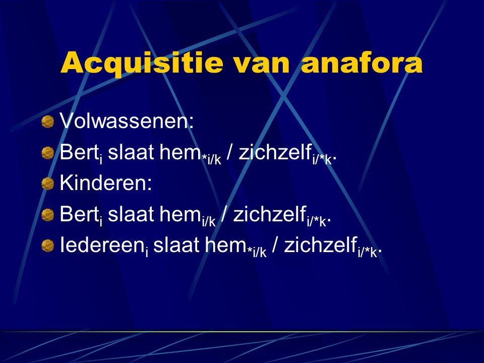 Acquisitie van anafora Volwassenen: Bert i slaat hem *i/k / zichzelf i/*k. Kinderen: Bert i slaat hem i/k / zichzelf i/*k. Iedereen i slaat hem *i/k /