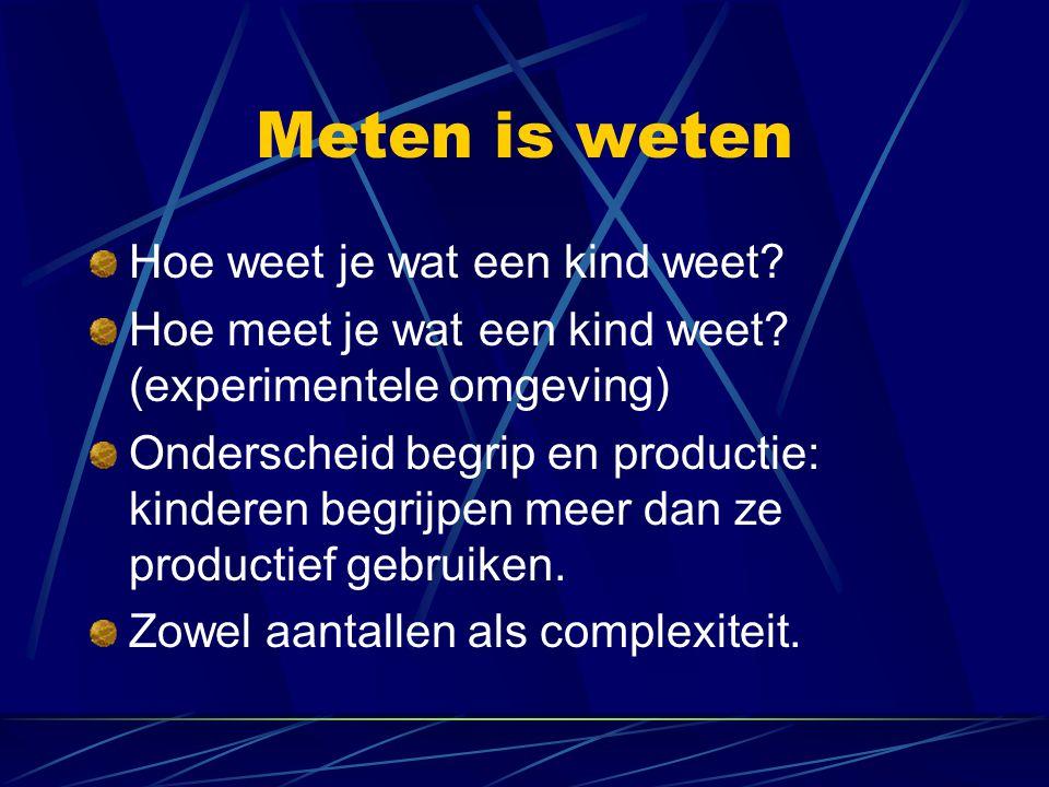Meten is weten Hoe weet je wat een kind weet? Hoe meet je wat een kind weet? (experimentele omgeving) Onderscheid begrip en productie: kinderen begrij