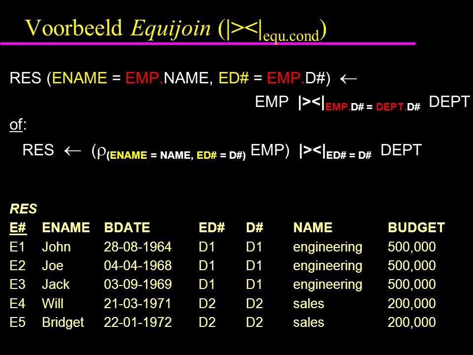 Voorbeeld Equijoin (|><| equ.cond ) RES (ENAME = EMP.NAME, ED# = EMP.D#)  EMP |><| EMP.D# = DEPT.D# DEPT of: RES  (  (ENAME = NAME, ED# = D#) EMP) |><| ED# = D# DEPT RES E# ENAMEBDATEED#D#NAMEBUDGET E1 John28-08-1964D1D1engineering500,000 E2 Joe04-04-1968D1D1engineering500,000 E3 Jack03-09-1969D1D1engineering500,000 E4 Will21-03-1971D2D2sales200,000 E5 Bridget22-01-1972D2 D2sales200,000