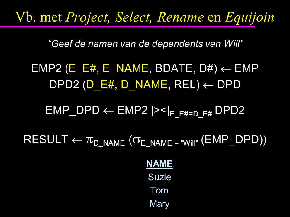 """Vb. met Project, Select, Rename en Equijoin """"Geef de namen van de dependents van Will"""" EMP2 (E_E#, E_NAME, BDATE, D#)  EMP DPD2 (D_E#, D_NAME, REL) """