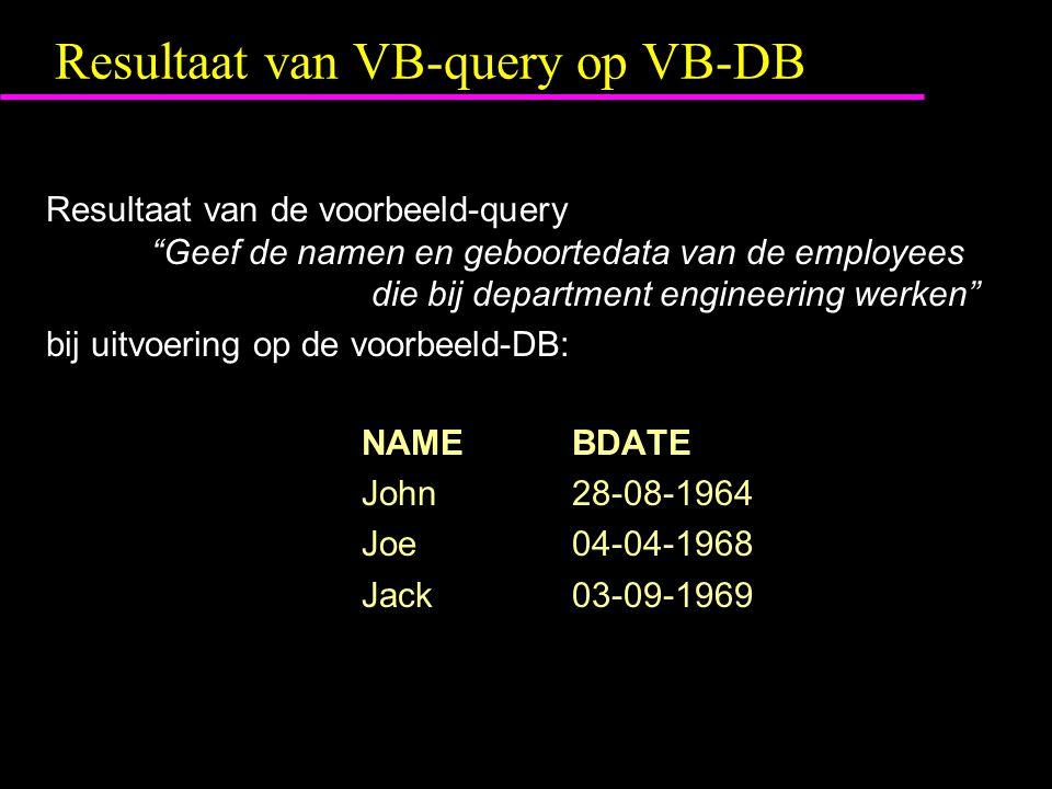 Resultaat van VB-query op VB-DB Resultaat van de voorbeeld-query Geef de namen en geboortedata van de employees die bij department engineering werken bij uitvoering op de voorbeeld-DB: NAMEBDATE John28-08-1964 Joe 04-04-1968 Jack03-09-1969