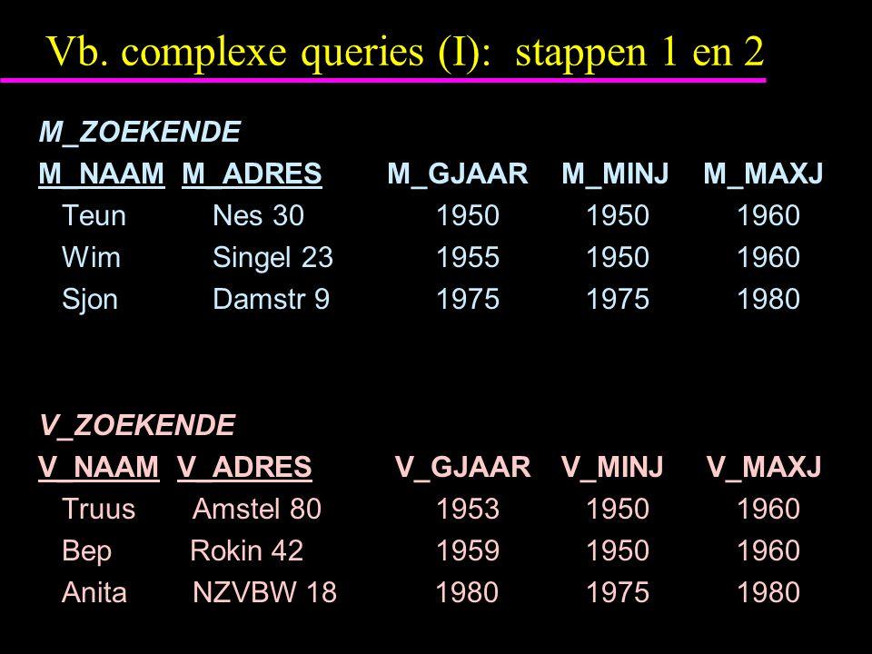 Vb. complexe queries (I): stappen 1 en 2 M_ZOEKENDE M_NAAM M_ADRESM_GJAAR M_MINJ M_MAXJ TeunNes 30 1950 19501960 WimSingel 23 1955 19501960 SjonDamstr