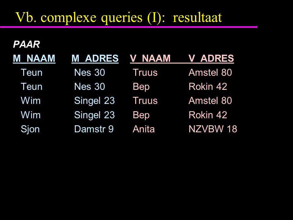Vb. complexe queries (I): resultaat PAAR M_NAAM M_ADRESV_NAAMV_ADRES Teun Nes 30 TruusAmstel 80 Teun Nes 30 BepRokin 42 Wim Singel 23 TruusAmstel 80 W