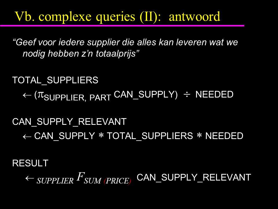 """Vb. complexe queries (II): antwoord """"Geef voor iedere supplier die alles kan leveren wat we nodig hebben z'n totaalprijs"""" TOTAL_SUPPLIERS  (  SUPPLI"""
