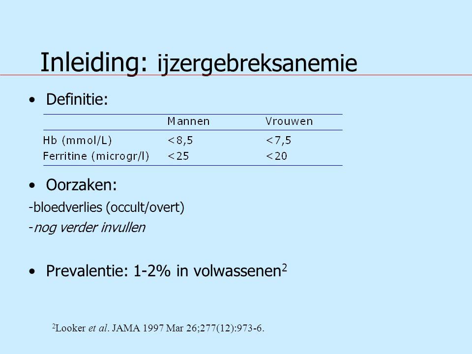 Conclusie De uitkomsten van deze studie pleiten voor het feit dat verbetering mogelijk en zinvol is in het aantal complete gastro-enterologische evaluaties voor patiënten met ijzergebreksanemie.