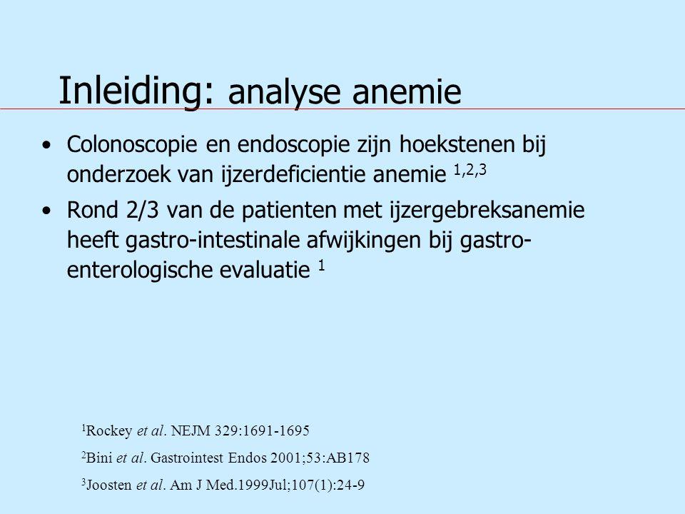 Inleiding: analyse anemie Colonoscopie en endoscopie zijn hoekstenen bij onderzoek van ijzerdeficientie anemie 1,2,3 Rond 2/3 van de patienten met ijzergebreksanemie heeft gastro-intestinale afwijkingen bij gastro- enterologische evaluatie 1 1 Rockey et al.