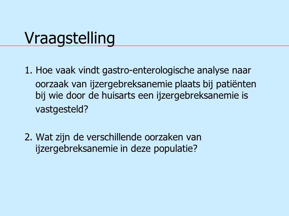 Vraagstelling 1. Hoe vaak vindt gastro-enterologische analyse naar oorzaak van ijzergebreksanemie plaats bij patiënten bij wie door de huisarts een ij