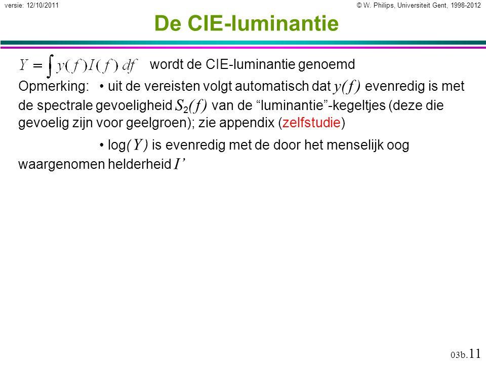 © W. Philips, Universiteit Gent, 1998-2012versie: 12/10/2011 03b. 11 wordt de CIE-luminantie genoemd De CIE-luminantie Opmerking: uit de vereisten vol