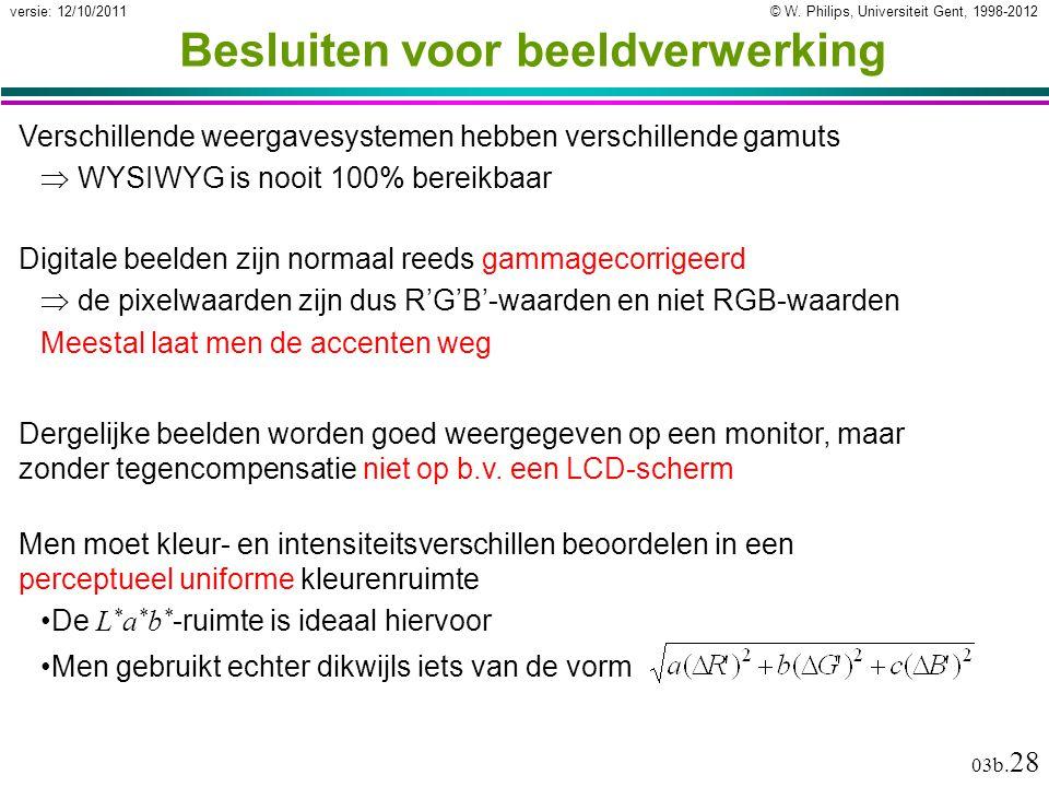 © W. Philips, Universiteit Gent, 1998-2012versie: 12/10/2011 03b. 28 Besluiten voor beeldverwerking Digitale beelden zijn normaal reeds gammagecorrige