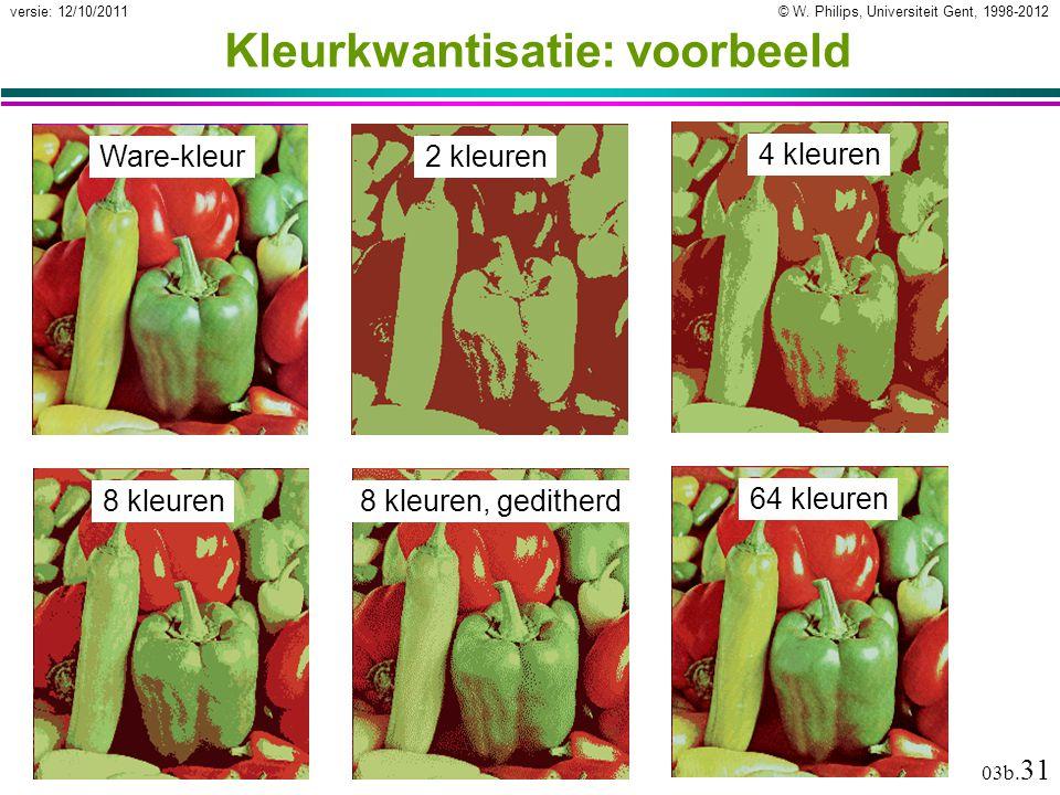 © W. Philips, Universiteit Gent, 1998-2012versie: 12/10/2011 03b. 31 Kleurkwantisatie: voorbeeld Ware-kleur 2 kleuren 4 kleuren8 kleuren64 kleuren8 kl