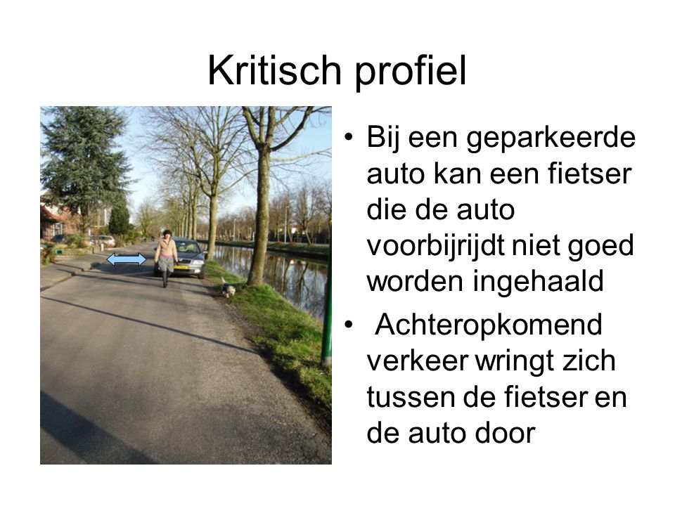 Kritisch profiel Bij een geparkeerde auto kan een fietser die de auto voorbijrijdt niet goed worden ingehaald Achteropkomend verkeer wringt zich tussen de fietser en de auto door