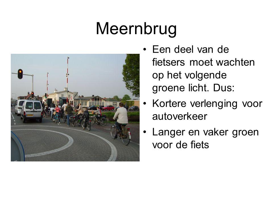 Meernbrug Een deel van de fietsers moet wachten op het volgende groene licht. Dus: Kortere verlenging voor autoverkeer Langer en vaker groen voor de f