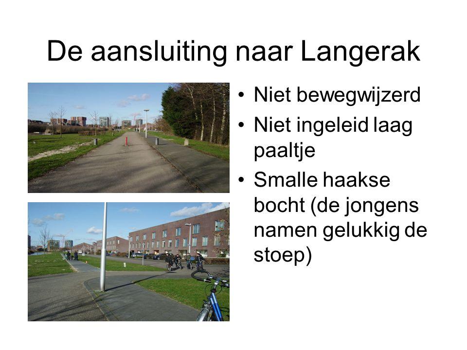 De aansluiting naar Langerak Niet bewegwijzerd Niet ingeleid laag paaltje Smalle haakse bocht (de jongens namen gelukkig de stoep)