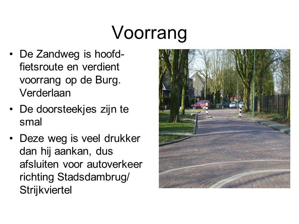 Voorrang De Zandweg is hoofd- fietsroute en verdient voorrang op de Burg. Verderlaan De doorsteekjes zijn te smal Deze weg is veel drukker dan hij aan