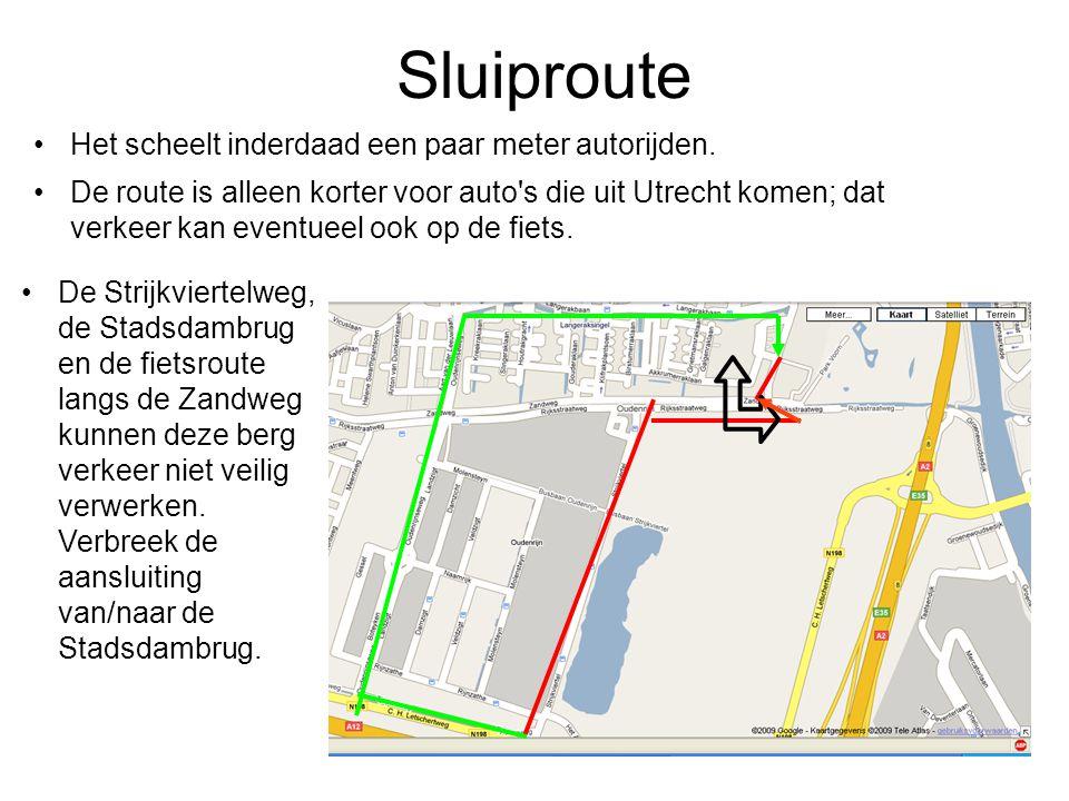 Sluiproute Het scheelt inderdaad een paar meter autorijden. De route is alleen korter voor auto's die uit Utrecht komen; dat verkeer kan eventueel ook
