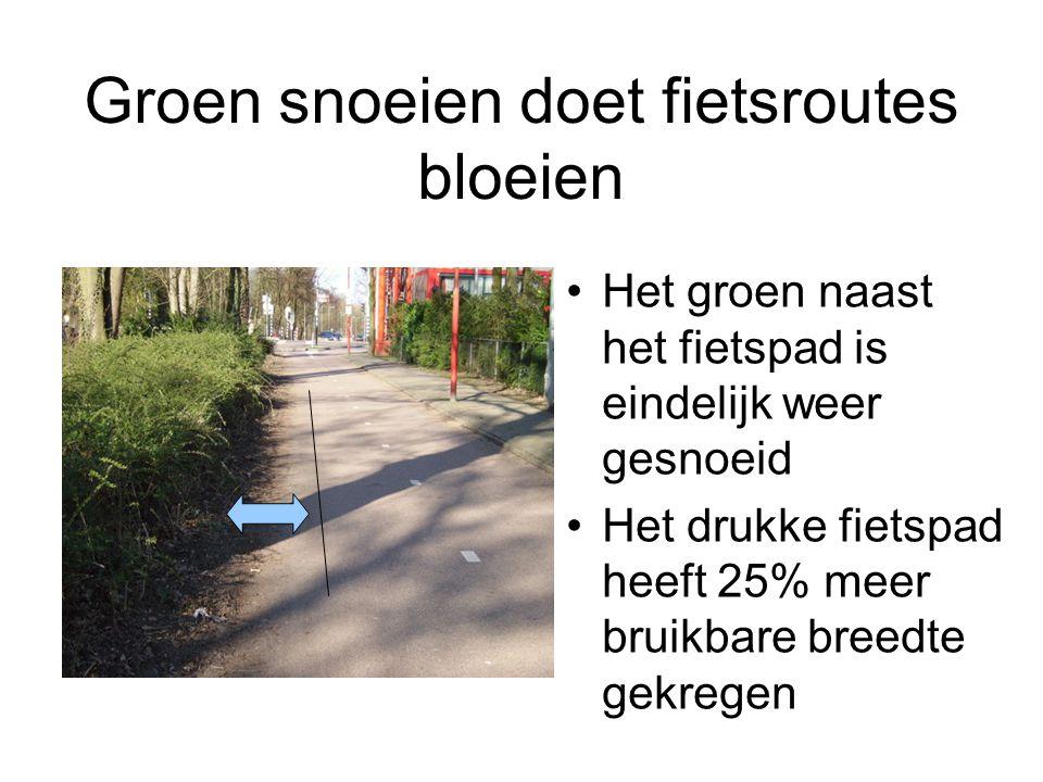 Groen snoeien doet fietsroutes bloeien Het groen naast het fietspad is eindelijk weer gesnoeid Het drukke fietspad heeft 25% meer bruikbare breedte ge