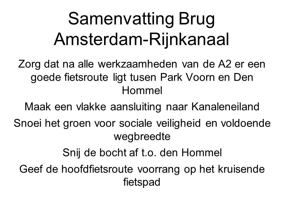 Samenvatting Brug Amsterdam-Rijnkanaal Zorg dat na alle werkzaamheden van de A2 er een goede fietsroute ligt tusen Park Voorn en Den Hommel Maak een vlakke aansluiting naar Kanaleneiland Snoei het groen voor sociale veiligheid en voldoende wegbreedte Snij de bocht af t.o.