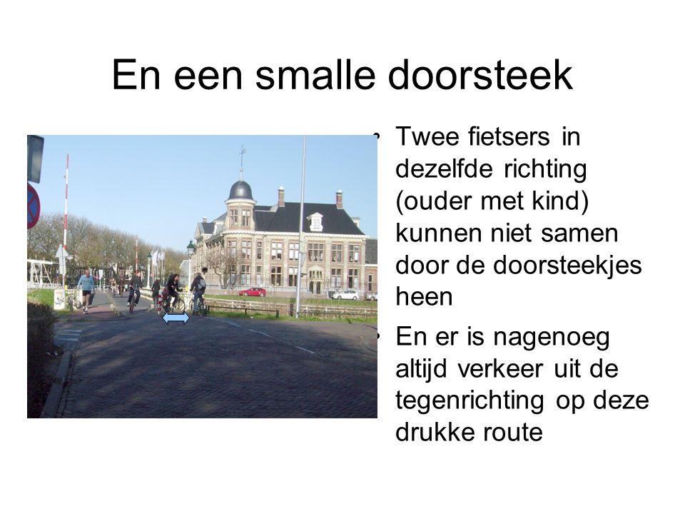 En een smalle doorsteek Twee fietsers in dezelfde richting (ouder met kind) kunnen niet samen door de doorsteekjes heen En er is nagenoeg altijd verke