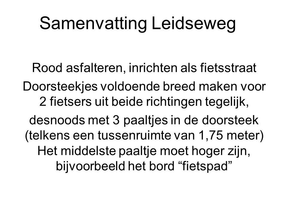 Samenvatting Leidseweg Rood asfalteren, inrichten als fietsstraat Doorsteekjes voldoende breed maken voor 2 fietsers uit beide richtingen tegelijk, de