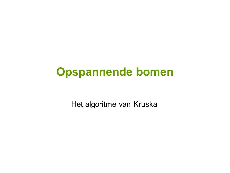 Opspannende bomen Het algoritme van Kruskal