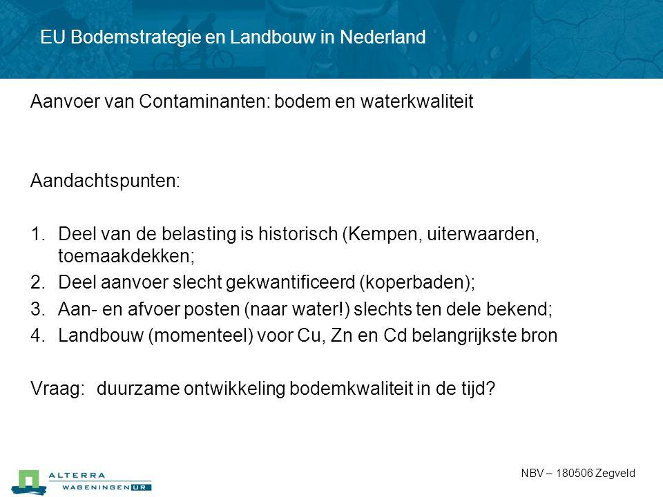 EU Bodemstrategie en Landbouw in Nederland Aanvoer van Contaminanten: bodem en waterkwaliteit Aandachtspunten: 1.Deel van de belasting is historisch (