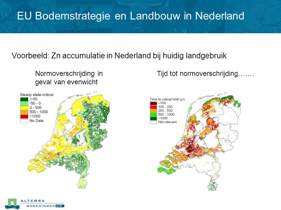 Voorbeeld: Zn accumulatie in Nederland bij huidig landgebruik Normoverschrijding in geval van evenwicht Tijd tot normoverschrijding……. EU Bodemstrateg