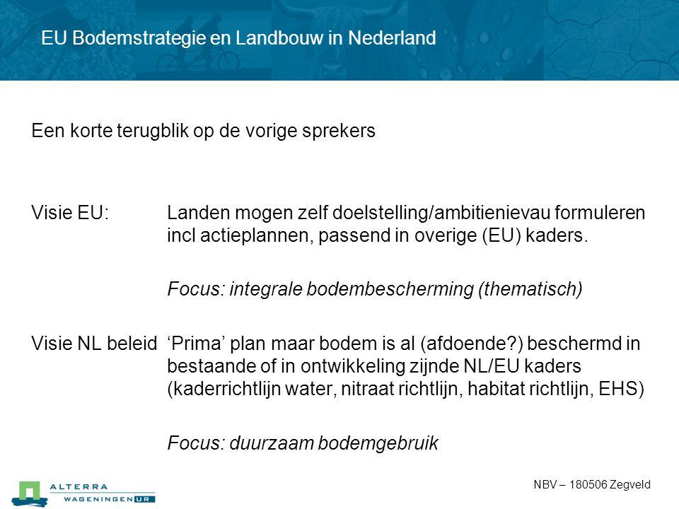 EU Bodemstrategie en Landbouw in Nederland Een korte terugblik op de vorige sprekers Visie EU: Landen mogen zelf doelstelling/ambitienievau formuleren
