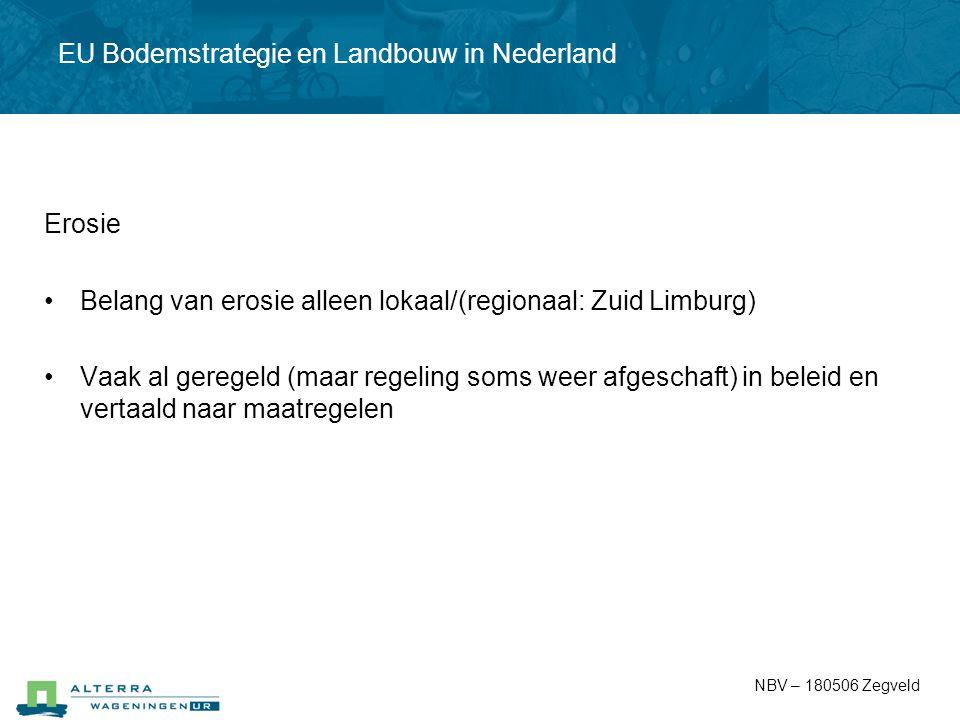 Erosie Belang van erosie alleen lokaal/(regionaal: Zuid Limburg) Vaak al geregeld (maar regeling soms weer afgeschaft) in beleid en vertaald naar maat