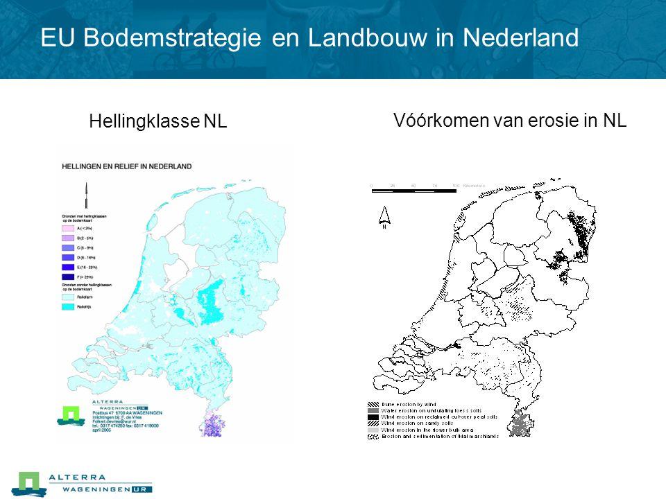 Hellingklasse NL Vóórkomen van erosie in NL EU Bodemstrategie en Landbouw in Nederland