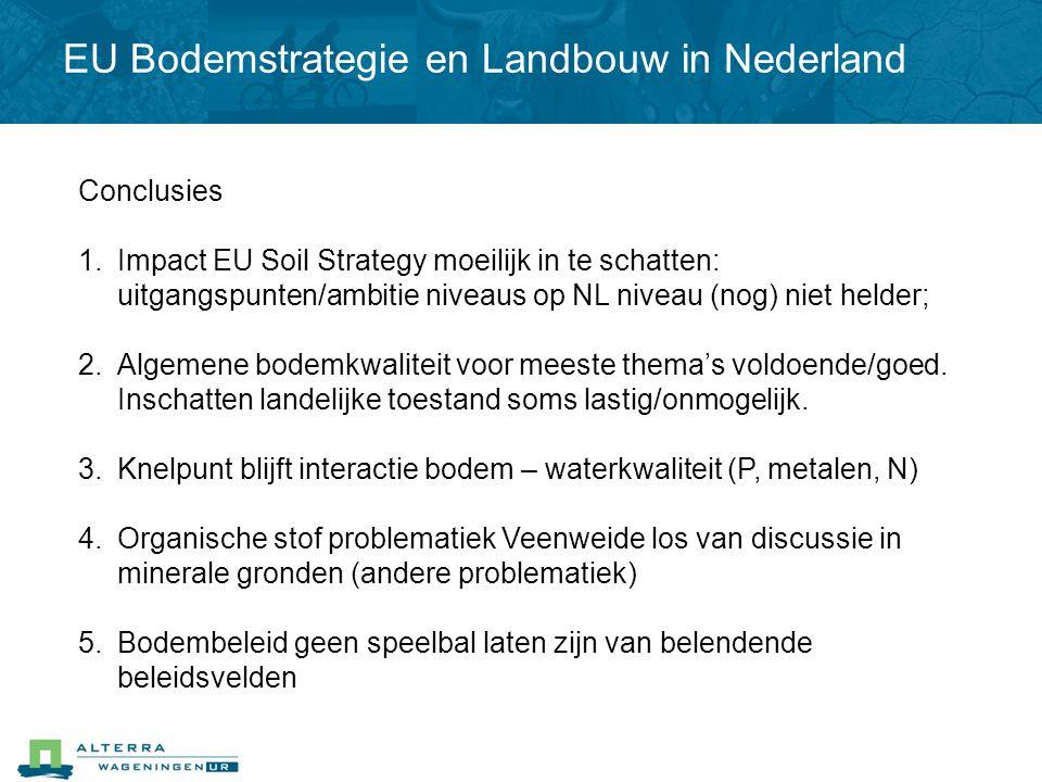 Conclusies 1.Impact EU Soil Strategy moeilijk in te schatten: uitgangspunten/ambitie niveaus op NL niveau (nog) niet helder; 2.Algemene bodemkwaliteit