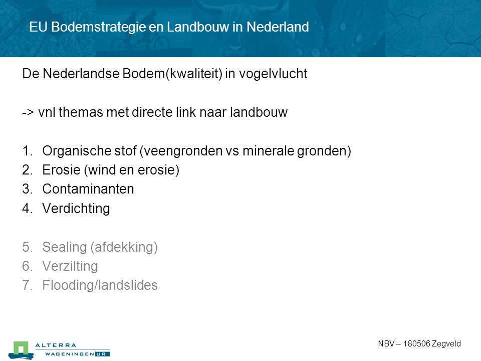 De Nederlandse Bodem(kwaliteit) in vogelvlucht -> vnl themas met directe link naar landbouw 1.Organische stof (veengronden vs minerale gronden) 2.Eros