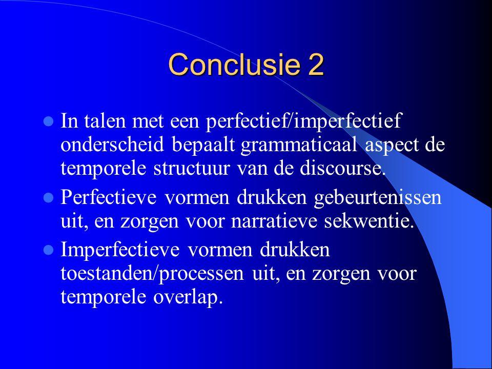 Conclusie 2 In talen met een perfectief/imperfectief onderscheid bepaalt grammaticaal aspect de temporele structuur van de discourse. Perfectieve vorm