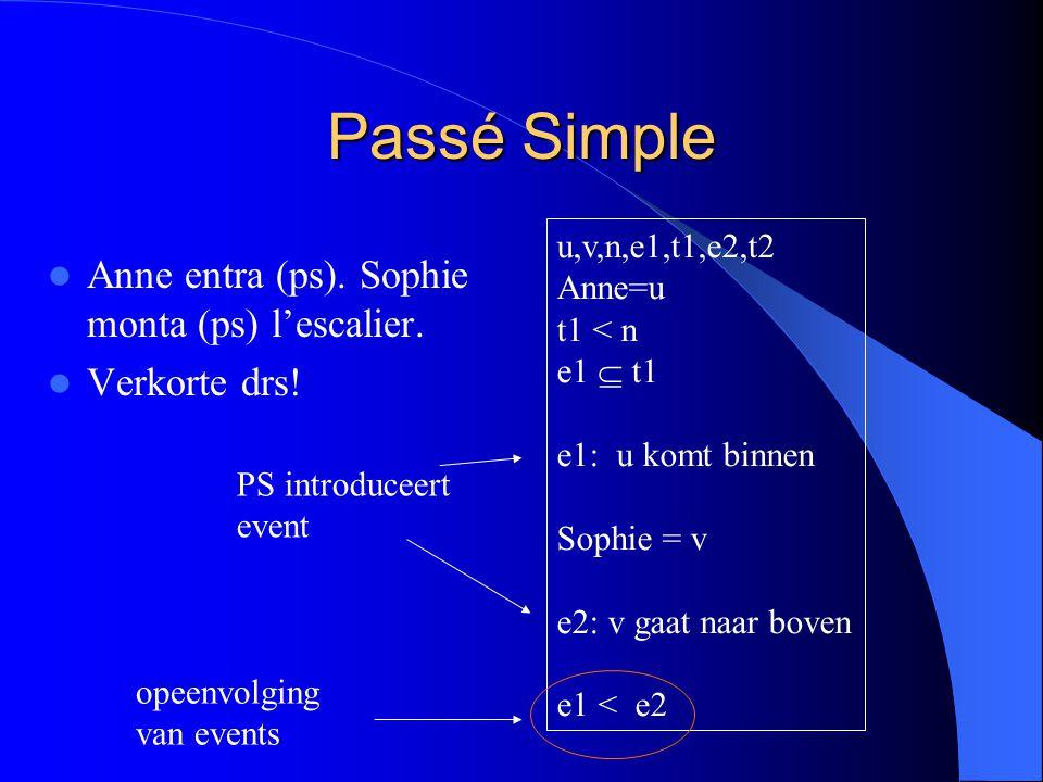 Passé Simple Anne entra (ps). Sophie monta (ps) l'escalier. Verkorte drs! u,v,n,e1,t1,e2,t2 Anne=u t1 < n e1  t1 e1: u komt binnen Sophie = v e2: v g