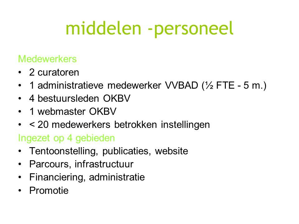 middelen -personeel Medewerkers 2 curatoren 1 administratieve medewerker VVBAD (½ FTE - 5 m.) 4 bestuursleden OKBV 1 webmaster OKBV < 20 medewerkers b