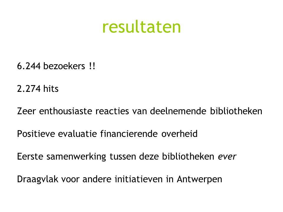 resultaten 6.244 bezoekers !! 2.274 hits Zeer enthousiaste reacties van deelnemende bibliotheken Positieve evaluatie financierende overheid Eerste sam