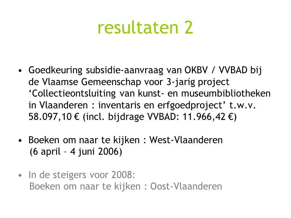 resultaten 2 Goedkeuring subsidie-aanvraag van OKBV / VVBAD bij de Vlaamse Gemeenschap voor 3-jarig project 'Collectieontsluiting van kunst- en museum