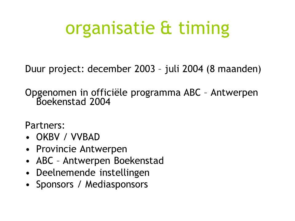 organisatie & timing Duur project: december 2003 – juli 2004 (8 maanden) Opgenomen in officiële programma ABC – Antwerpen Boekenstad 2004 Partners: OKBV / VVBAD Provincie Antwerpen ABC – Antwerpen Boekenstad Deelnemende instellingen Sponsors / Mediasponsors