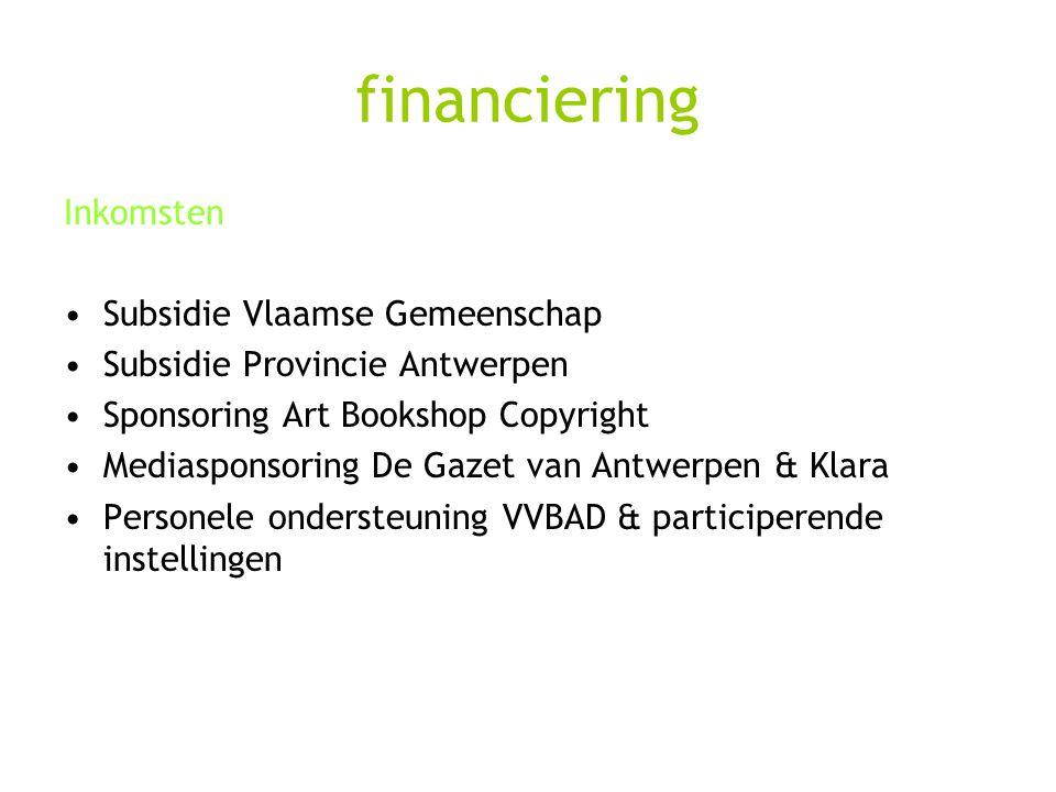 financiering Inkomsten Subsidie Vlaamse Gemeenschap Subsidie Provincie Antwerpen Sponsoring Art Bookshop Copyright Mediasponsoring De Gazet van Antwer