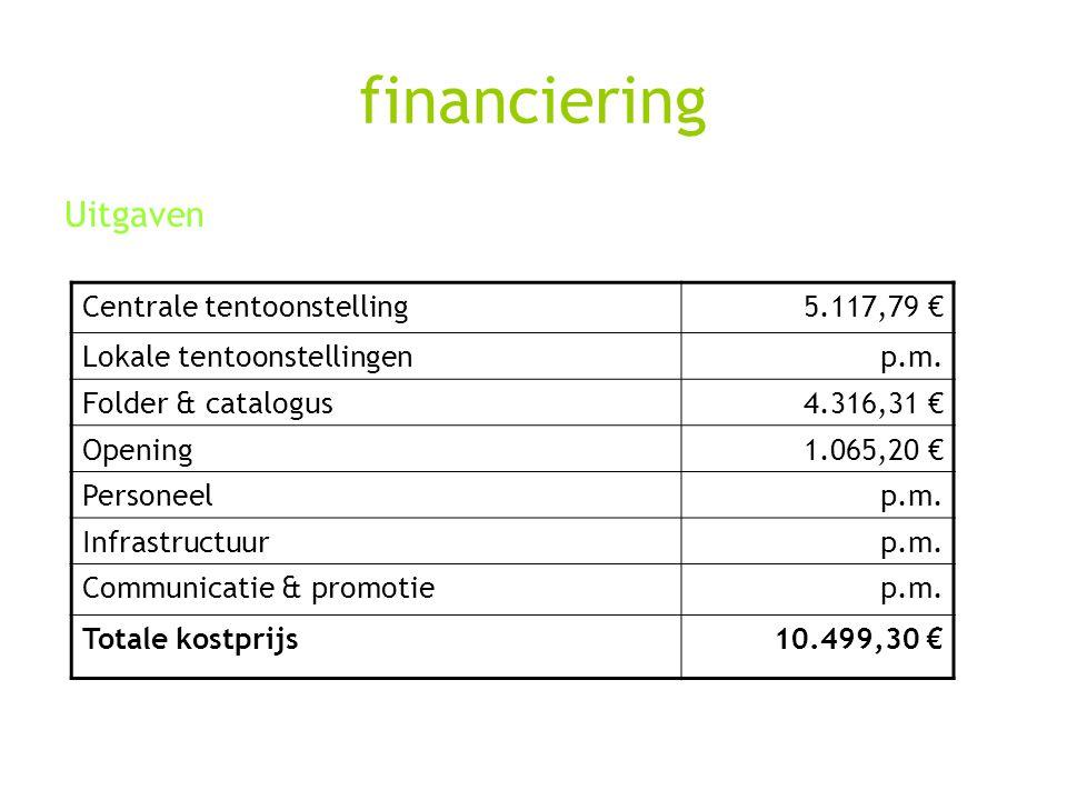 financiering Uitgaven Centrale tentoonstelling5.117,79 € Lokale tentoonstellingenp.m. Folder & catalogus4.316,31 € Opening1.065,20 € Personeelp.m. Inf