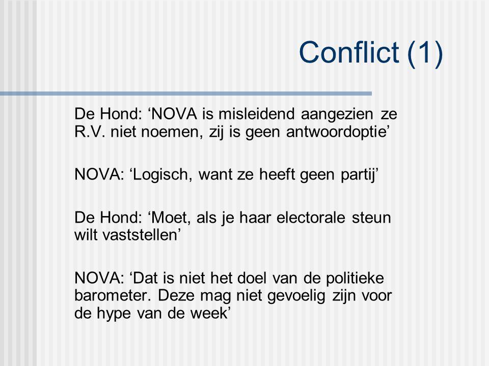 Conflict (1) De Hond: 'NOVA is misleidend aangezien ze R.V.