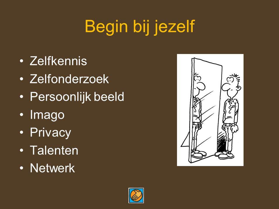 Begin bij jezelf Zelfkennis Zelfonderzoek Persoonlijk beeld Imago Privacy Talenten Netwerk