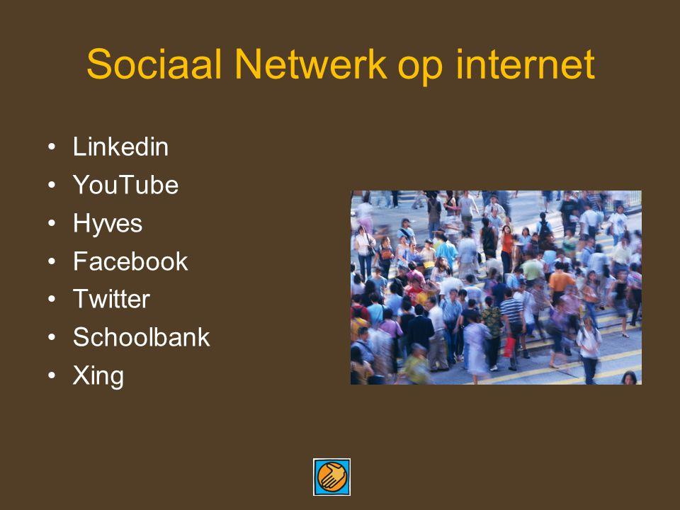 Sociaal Netwerk op internet Linkedin YouTube Hyves Facebook Twitter Schoolbank Xing