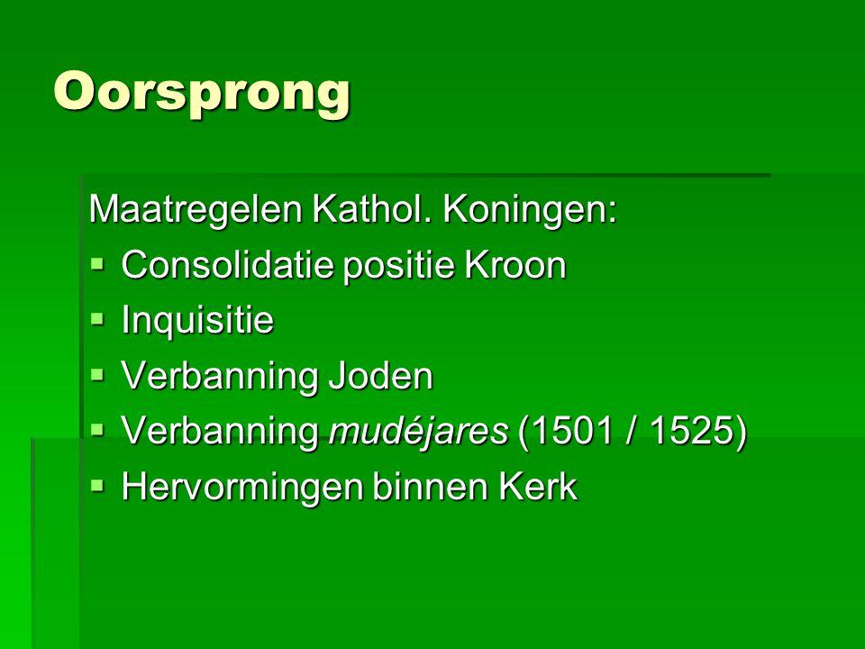 Oorsprong Maatregelen Kathol. Koningen:  Consolidatie positie Kroon  Inquisitie  Verbanning Joden  Verbanning mudéjares (1501 / 1525)  Hervorming