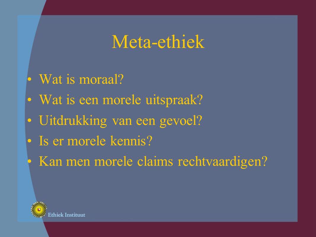 Meta-ethiek Wat is moraal. Wat is een morele uitspraak.