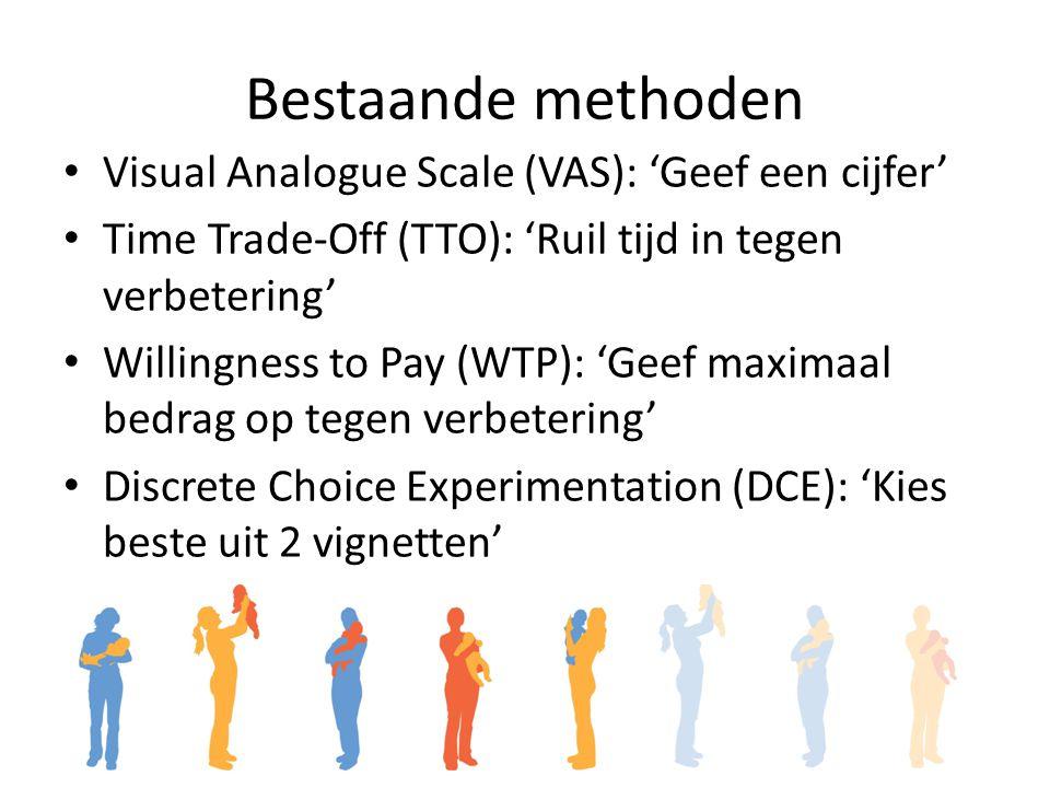 Bestaande methoden Visual Analogue Scale (VAS): 'Geef een cijfer' Time Trade-Off (TTO): 'Ruil tijd in tegen verbetering' Willingness to Pay (WTP): 'Geef maximaal bedrag op tegen verbetering' Discrete Choice Experimentation (DCE): 'Kies beste uit 2 vignetten'